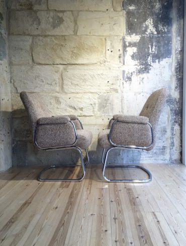 Vintage Tweed & Chrome Chairs